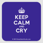 [Crown] keep calm and cry  Stickers square