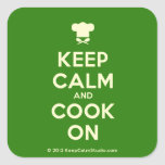 [Chef hat] keep calm and cook on  Stickers (square)