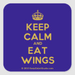 [Crown] keep calm and eat wings  Stickers (square)