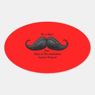 Stickers, Stop Rape, Discrimination Against Women! Oval Sticker