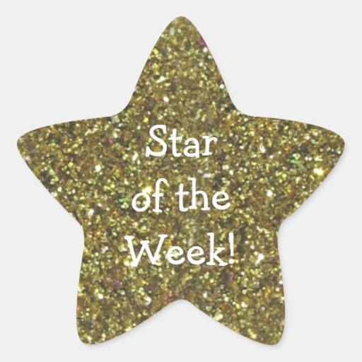 Stickers - STUDENT STAR OF WEEK GOLD GLITTER STAR