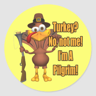 Stickers - Thanksgiving Turkey Pilgrim