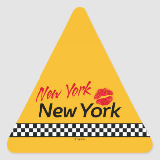 Stickers triangulaires Taxi NY & Red Kiss Pegatina Triangular