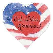 Stickers USA God Bless America Heart