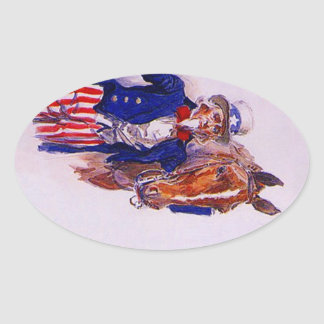 Stickers Vintage Uncle Sam USA Horse Luggage