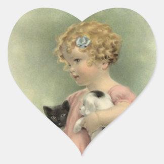 STICKERS Vintage Victorian Girl Kitten Puppy Sweet