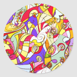 Stickers with Colour Fragments Abstract Design