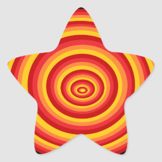 Stickers yellow star round reason with red