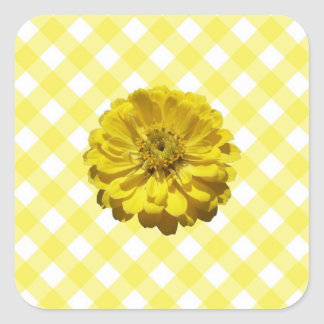Stickers - Yellow Zinnia on Lattice