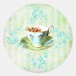 Stickes de las flores/de las rayas etiqueta redonda