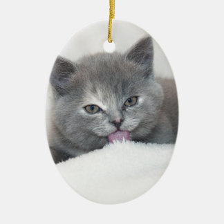 Sticking Out His Tongue Grey Tabby Cat Ceramic Ornament