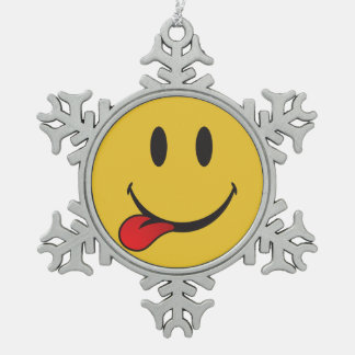 Sticking out tongue emoji snowflake pewter christmas ornament