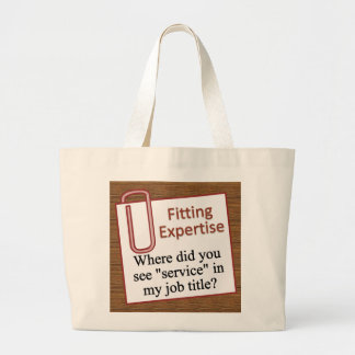 Sticking to your area of expertise large tote bag