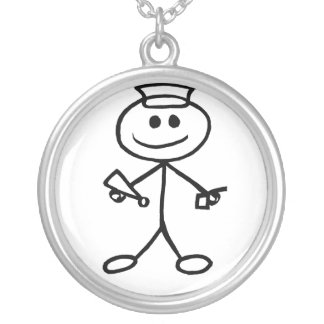 Stickman Army Silver Plated Necklace