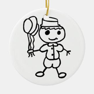 Stickman Balloon Boy Ceramic Ornament