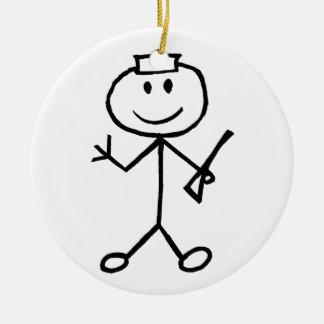 Stickman Cop Ceramic Ornament