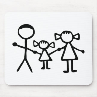Stickman family mouse pad