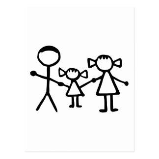 Stickman family postcard