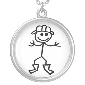 Stickman Fire Silver Plated Necklace