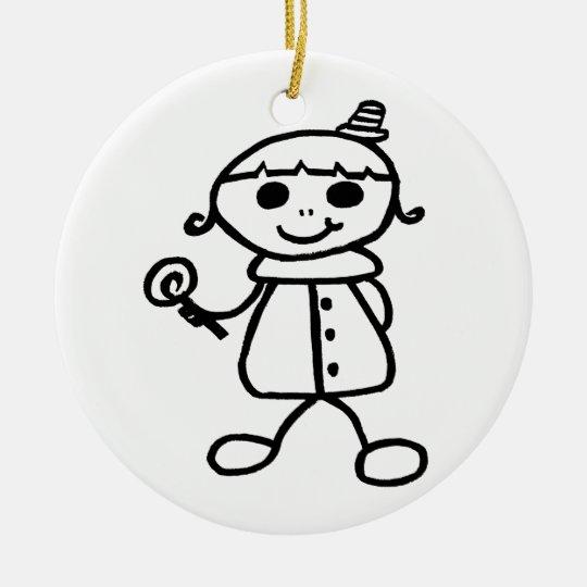Stickman Lollipop Girl Ceramic Ornament