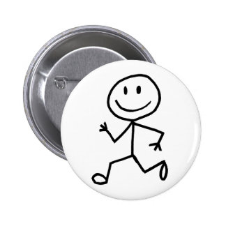 Stickman Runner Pinback Button
