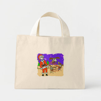 stickman santa canvas bags