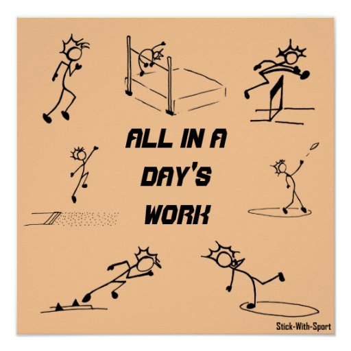 """Stickman track and field """"All in a Day's Work"""" Print"""