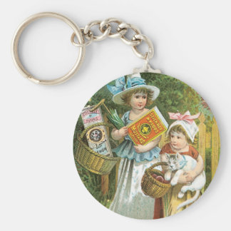 Stickney and Poores Children With Cat Basic Round Button Keychain