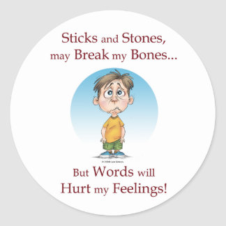 Sticks and Stones Classic Round Sticker