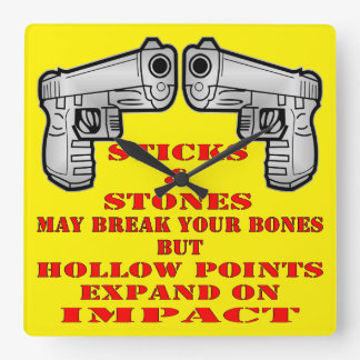 Sticks And Stones May Break Your Bones But Hollow Square Wall Clock