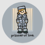 sticky fingers land you in jail. classic round sticker