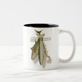 sticky fish Two-Tone coffee mug