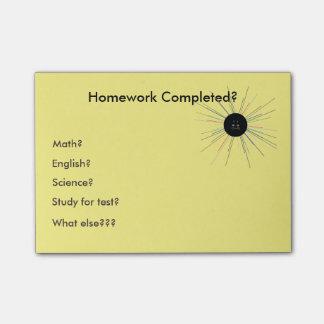 Sticky Postit Note Homework