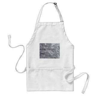 Sticky snow stuck to branches. adult apron