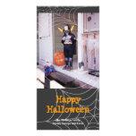 Sticky spider web black orange Halloween greeting Photo Card