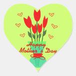 Stiker Heart to Mothers Day Pegatina En Forma De Corazón