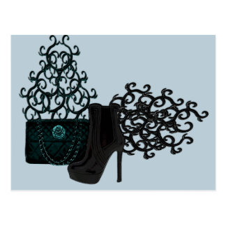 Stiletto Boot and Handbag Postcard