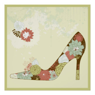 Stiletto Floral Shoes Beige Brown & Green Accent Poster