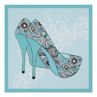 Stiletto Floral Shoes In Blue Black & White Accent Poster