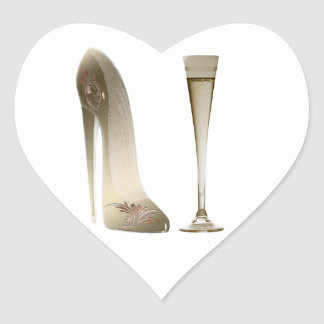 Stiletto High Heel Shoe Art and Champagne Gifts Heart Sticker
