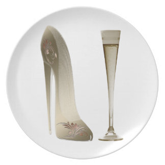 Stiletto High Heel Shoe Art and Champagne Gifts Melamine Plate