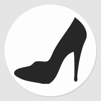 stiletto high heeled shoe icon classic round sticker