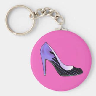 Stiletto pump blue on hot pink key chains