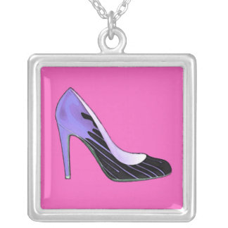 Stiletto pump, blue on hot pink silver plated necklace