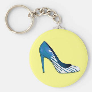 Stiletto pump blue on yellow key chains