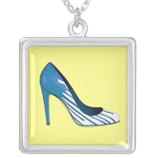 Stiletto pump, blue on yellow silver plated necklace