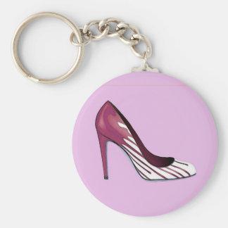 Stiletto pump burgundy on lavender key chains