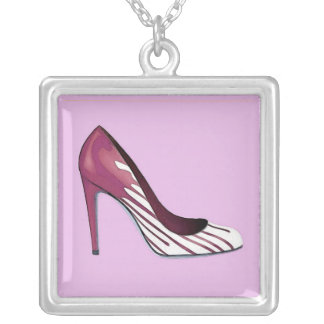 Stiletto pump, burgundy on lavender silver plated necklace