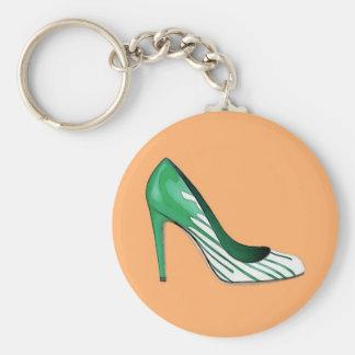Stiletto pump green on orange key chain