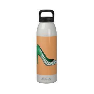 Stiletto pump green on orange reusable water bottle